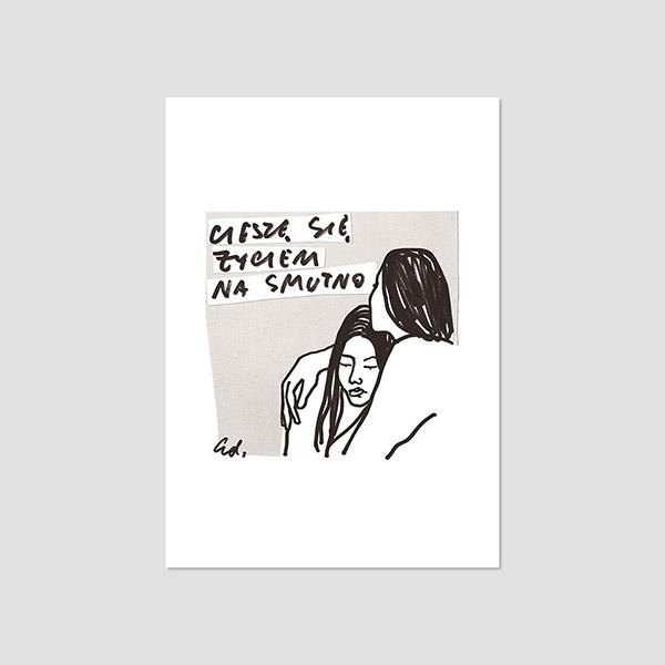 Zdjęcie produktu Pocztówka - Cieszę się życiem na smutno