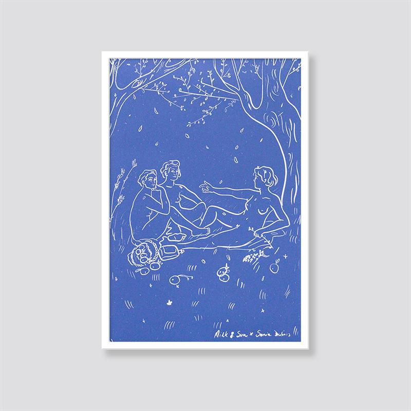 Zdjęcie produktu Plakat Prawdziwe śniadanie na trawie / wersja niebieska