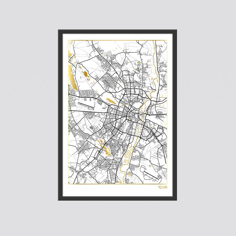 Zdjęcie produktu MAPA POZNAŃ ZŁOTY PLAKAT